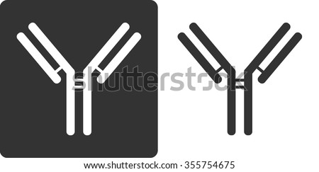 IgG1 antibody (immunoglobulin), flat icon style. Many biotech drugs are antibodies. - stock vector