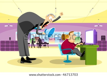 Ignoring The Boss. An office employee being yelled at by the boss and ignoring him by putting a cork in his ear. - stock vector