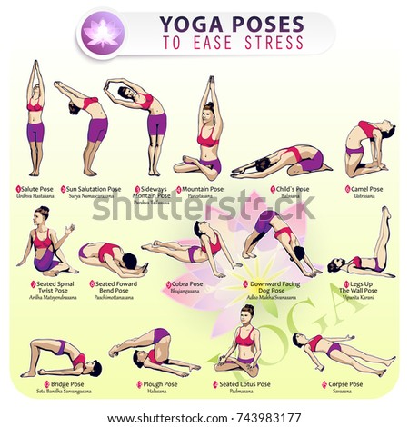 iillustration sequence performing 15 poses yoga stock