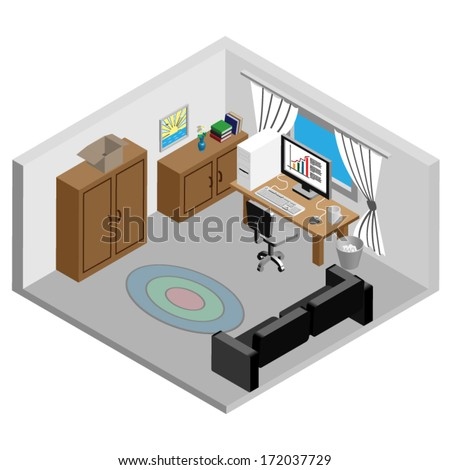 Iisometric Working Room Icon - stock vector