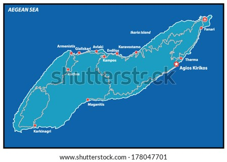 Ikaria Island Vector Map Greece Stock Vector 2018 178047701