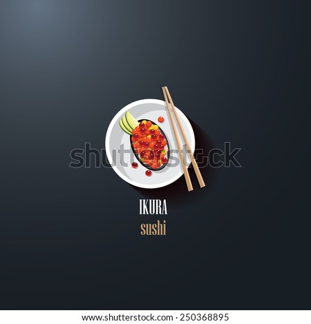 ikura sushi japanese delicacy food icon logo element for restaurant business design purposes- white plate with food and chopsticks- top view perspective- flat design - stock vector