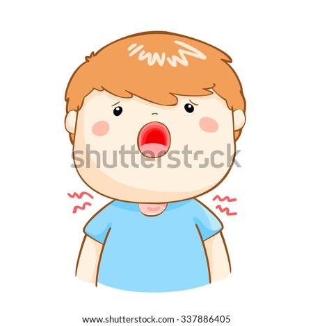 ill boy sore throat because flu disease vector - stock vector
