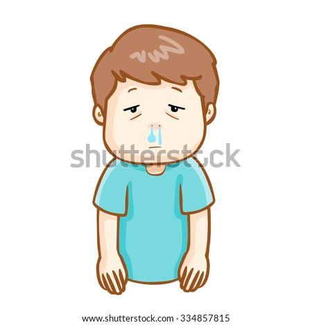ill man runny nose because flu disease, vector - stock vector