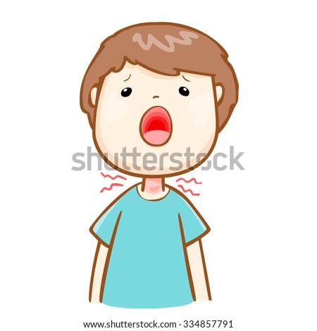 ill man sore throat because flu disease,vector - stock vector