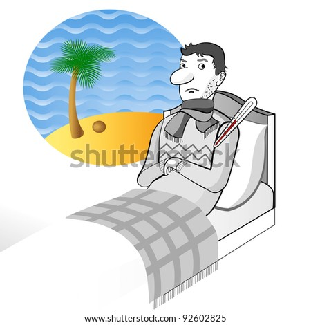 ill man stays on the bed with thermometer and dreams about sea beach