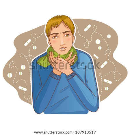 Ill young man complaints about cold - stock vector