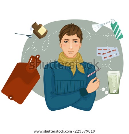 Ill young man complaints about cold, eps10 - stock vector