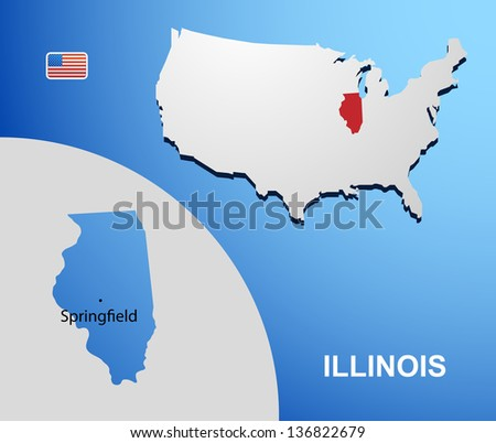 Illinois on USA map with map of the state