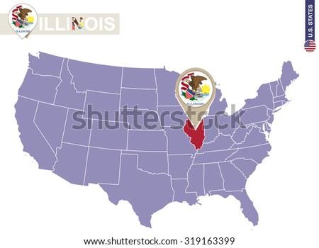 Kansas State On Usa Map Kansas Stock Vector Shutterstock - Illinois on us map