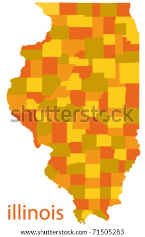 Illinois State Vector Map Stock Vector
