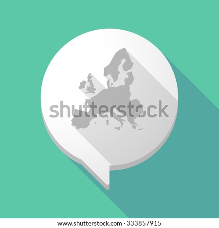 Illistration of a long shadow comic balloon with  a map of Europe  - stock vector