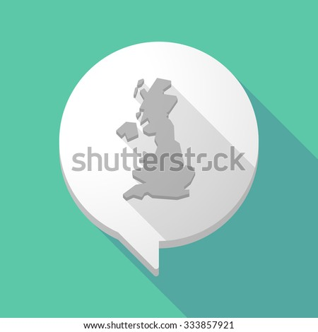 Illistration of a long shadow comic balloon with  a map of the UK  - stock vector