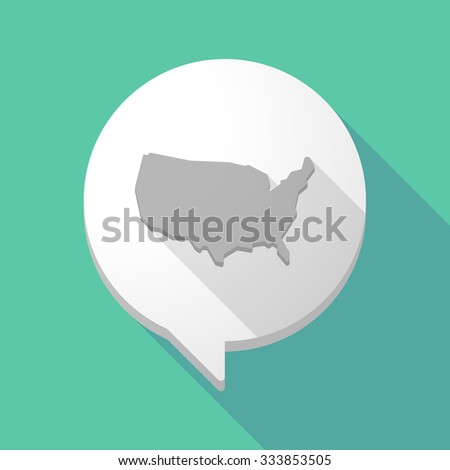 Illistration of a long shadow comic balloon with  a map of the USA - stock vector