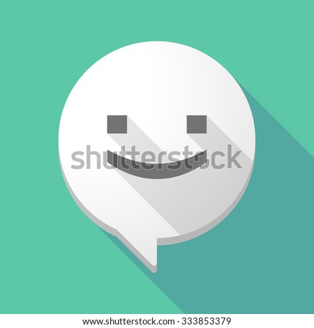 Illistration of a long shadow comic balloon with a smile text face - stock vector