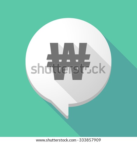 Illistration of a long shadow comic balloon with a won currency sign - stock vector