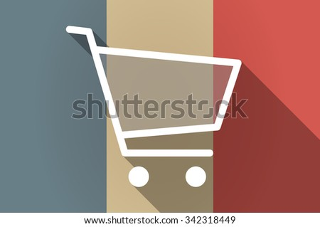 Illistration of a long shadow flag of France vector icon with a shopping cart - stock vector