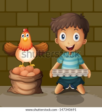 Illsutration of a chicken laying eggs beside the young boy with an egg tray - stock vector