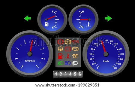 Illuminated auto interior in the night. Blue color car dashboard, speedometer, kilometer counter and collection of icons... vector art image illustration on black background - stock vector