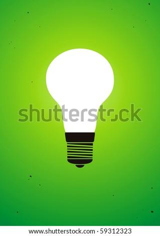 Illuminated light bulb on green background - stock vector
