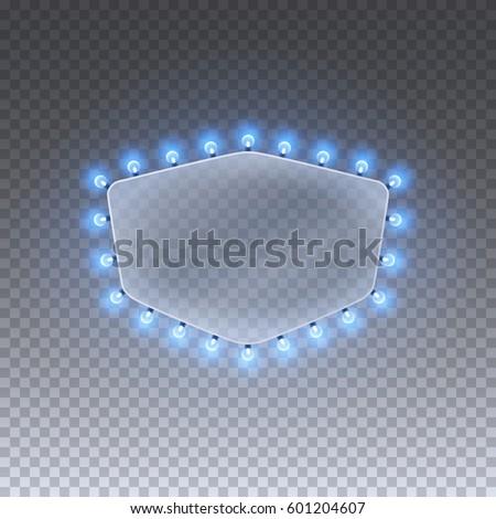 Illuminated Realistic Casino Banner Shape Blue Stock Vector