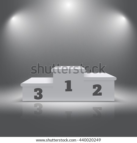 Illuminated realistic sport winners 3d podium. Pedestal for winners and alight pedestal isolated. Vector illustration - stock vector