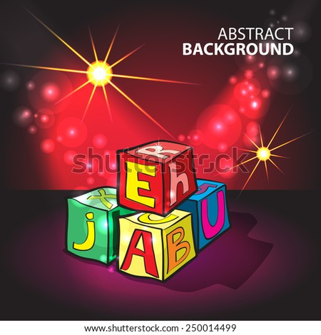 Illuminated red background with children's cubes with letters - stock vector