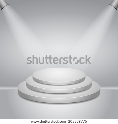 Illuminated round stage podium for award ceremony vector illustration - stock vector