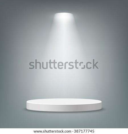 Illuminated round stage podium, pedestal. Vector illustration. - stock vector