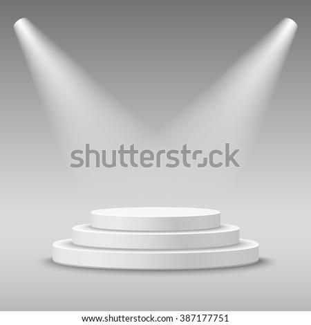 Illuminated round white stage podium, pedestal. Vector illustration. - stock vector