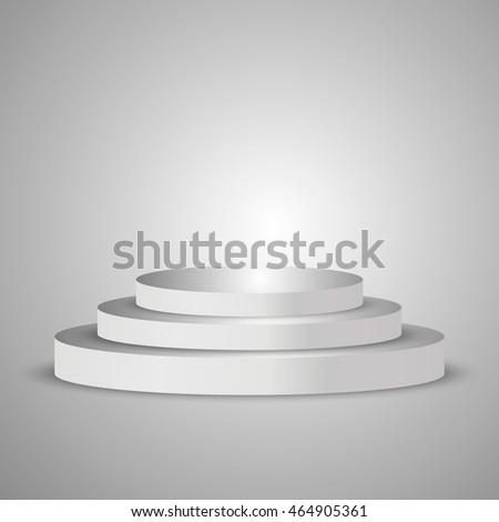 Illuminated round white stage podium, pedestal. Vector illustration.