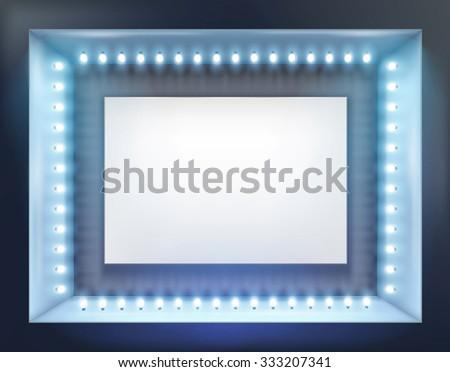 Illuminated shop window. Vector illustration. - stock vector