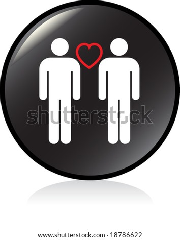 illuminated sign - BLACK version - gay men couple - stock vector