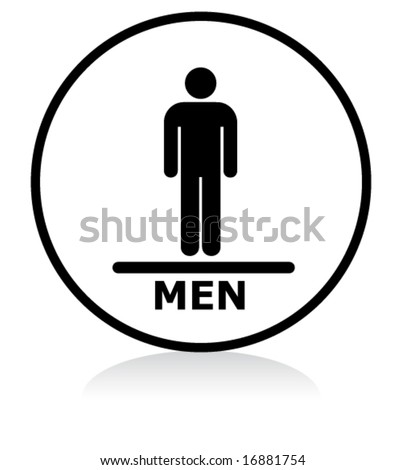 illuminated sign - WHITE version - men symbol