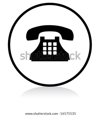 illuminated sign - WHITE version - old phone symbol - stock vector