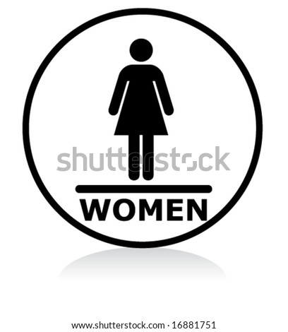 illuminated sign - WHITE version - women symbol - stock vector