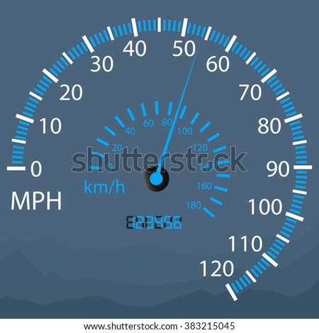 illuminated speedometer on a white background - stock vector