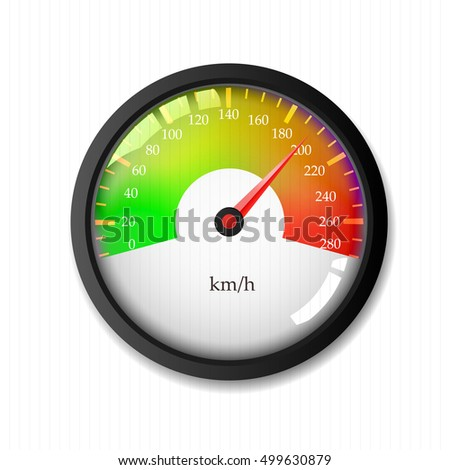 illuminated speedometer on a white background