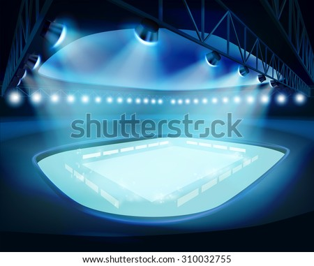 Illuminated Stadium. Vector illustration. - stock vector