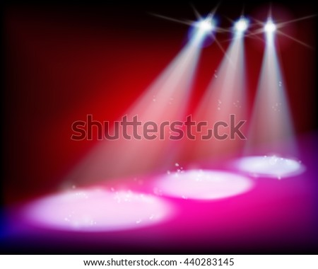 Illuminated stage before the concert. Vector illustration. - stock vector