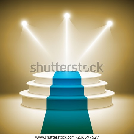 Illuminated stage podium for award ceremony vector illustration  - stock vector
