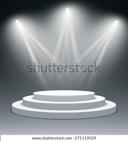 Illuminated stage podium for award ceremony. Vector illustration.