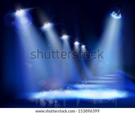 Illuminated stage. Vector illustration. - stock vector