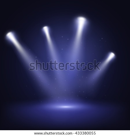 Illuminated stage with scenic lights, vector EPS10 - stock vector
