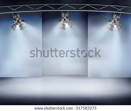 Illuminated wall in art gallery. Vector illustration. - stock vector