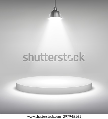 Illuminated White Stand Podium to Place Object Template on Grayscale Background