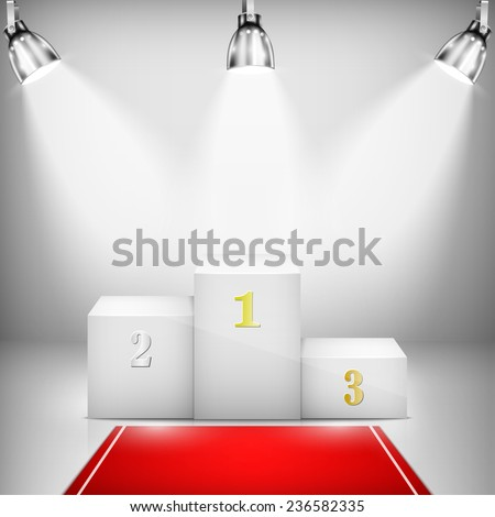 Illuminated Winner Pedestal With Red Carpet. Vector Illustration. - stock vector