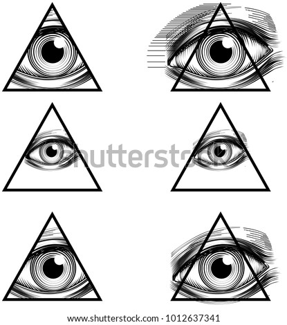 Illuminati Conspiracy Theory Illustration With All Seeing Eye Symbol Holding In Pyramid