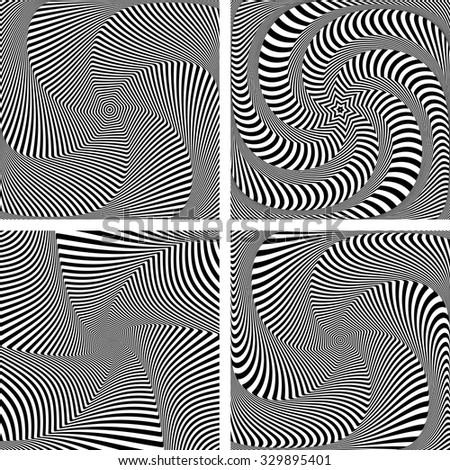 Illusion of torsion  movement. Dynamic effect. Design elements set. Vector art. - stock vector