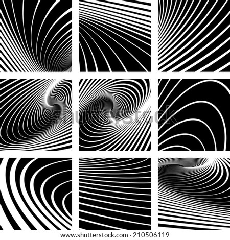 Illusion of vortex motion. Abstract backgrounds set. Vector art. - stock vector